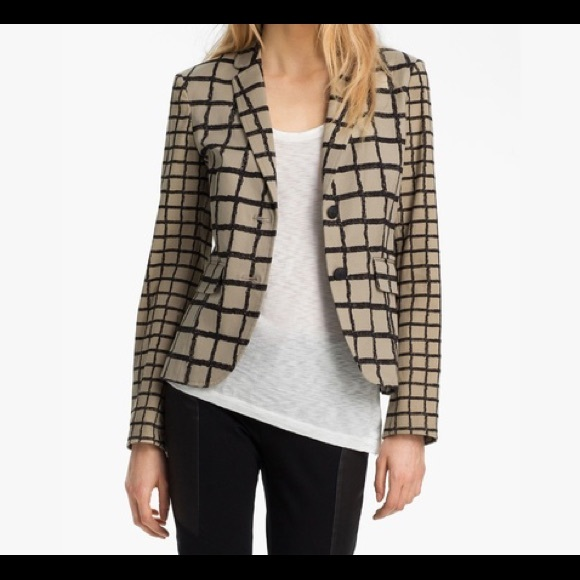 rag & bone Jackets & Blazers - Rag & Bone 'Bailey' Tan Windowpane Jacket SZ. 8
